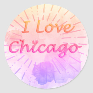 "Tropical Watercolor ""I Love Chicago"" Classic Round Sticker"