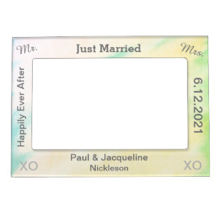 Tropical Watercolor Just Married Wedding Frames