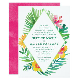 Tropical Watercolor Leaves Wedding Invitation