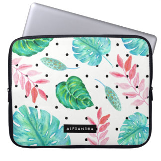 Tropical Watercolor Leaves with Black Polka Dots Laptop Computer Sleeve