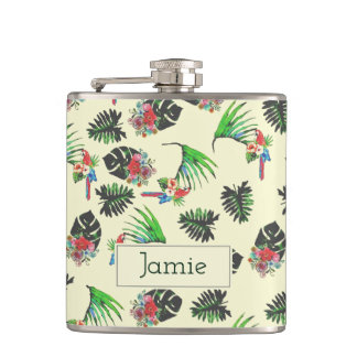 Tropical Watercolor Parrot Pattern Hip Flask