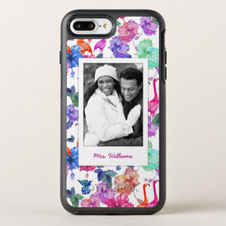 Tropical Watercolor Pattern| Add Your Photo & Name OtterBox Symmetry iPhone 8 Plus/7 Plus Case