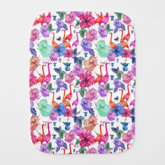 Tropical Watercolor Pattern Baby Burp Cloth