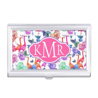 Tropical Watercolor Pattern | Monogram Business Card Holder
