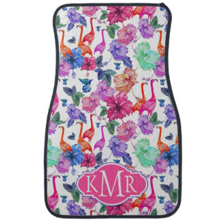 Tropical Watercolor Pattern | Monogram Car Mat