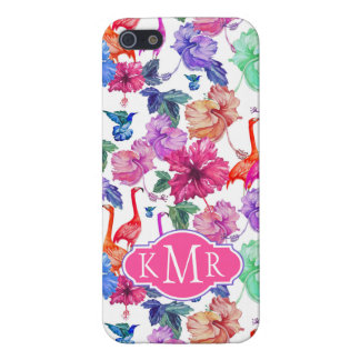 Tropical Watercolor Pattern   Monogram Case For The iPhone 5