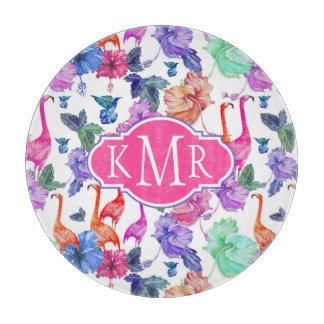 Tropical Watercolor Pattern | Monogram Cutting Board