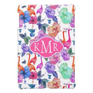 Tropical Watercolor Pattern | Monogram iPad Mini Cover