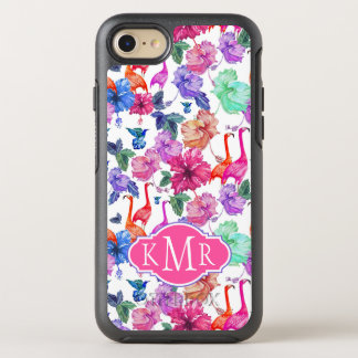 Tropical Watercolor Pattern | Monogram OtterBox Symmetry iPhone 8/7 Case