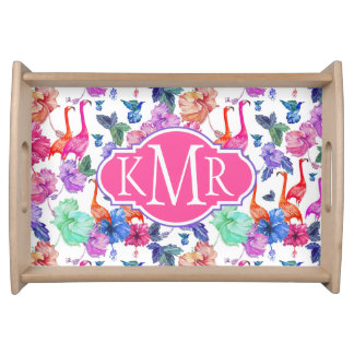 Tropical Watercolor Pattern | Monogram Serving Tray