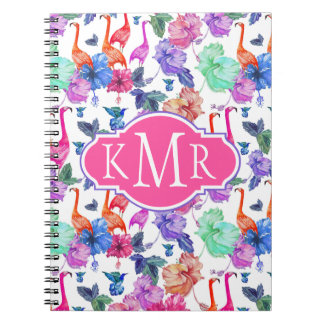 Tropical Watercolor Pattern | Monogram Spiral Notebook