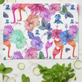 Tropical Watercolor Pattern   Monogram Tea Towel