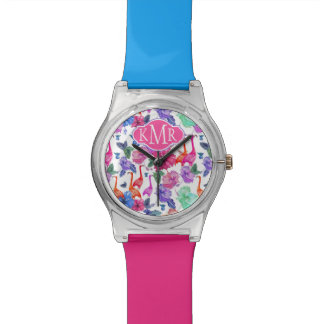 Tropical Watercolor Pattern | Monogram Wristwatch