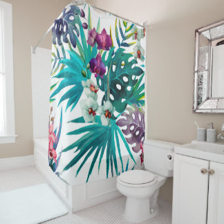 Tropical Watercolor Pattern Shower Curtain