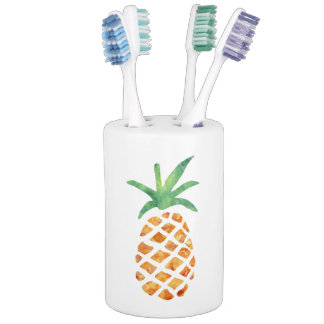 Tropical Watercolor Pineapple Bath Set