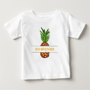 Tropical Watercolor Pineapple Big Brother Baby T-Shirt