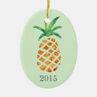 Tropical Watercolor Pineapple Green Keepsake Year Christmas Ornament