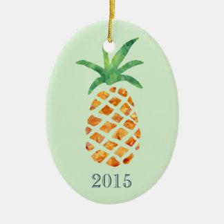 Tropical Watercolor Pineapple Green Keepsake Year Christmas Ornament