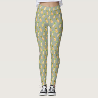 Tropical Watercolor Pineapple Pattern Leggings