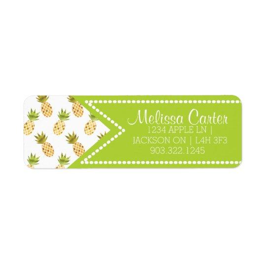 Tropical Watercolor Pineapple Pattern Return Address Label