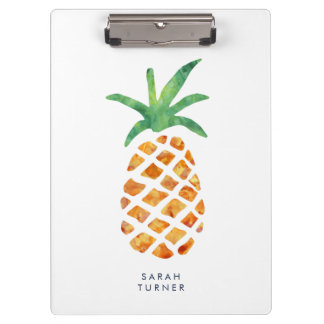Tropical Watercolor Pineapple Personalized Clipboard