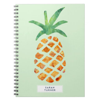 Tropical Watercolor Pineapple Personalized Notebooks