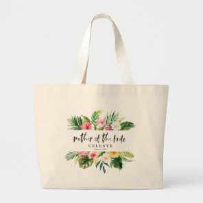 Tropical watercolor script mother of the bride large tote bag