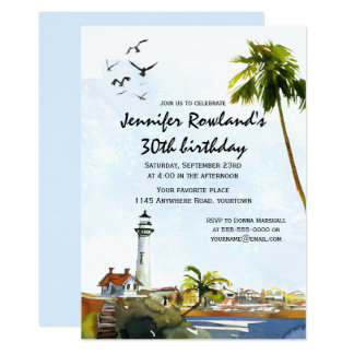 Tropical Watercolor Seascape Birthday Invitation