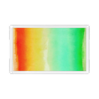 Tropical Watercolor Stripes Acrylic Tray