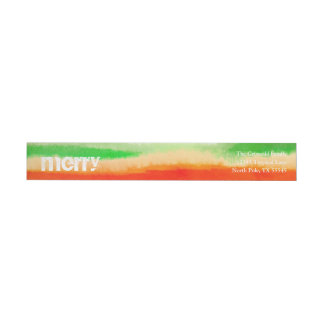 Tropical Watercolor Stripes Merry Christmas Wrap Around Label