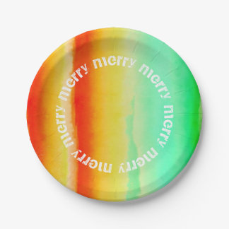 Tropical Watercolor Stripes Merry Merry Christmas Paper Plate
