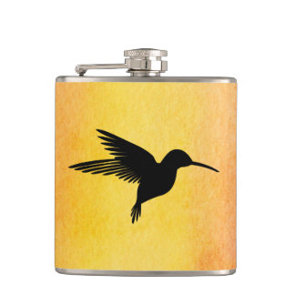 Tropical Watercolour Hummingbird Colibri Flask