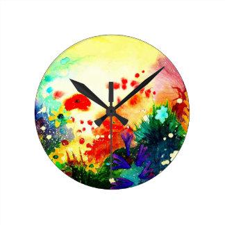 Tropical watercolour. round clock