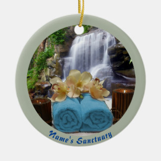 Tropical Waterfall Circle Blue Personalized Christmas Ornament