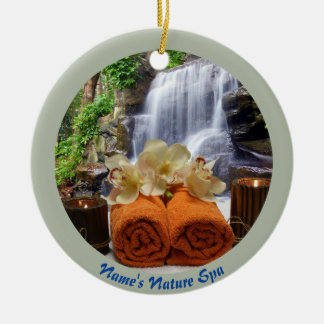 Tropical Waterfall Circle Orange Personalized Christmas Ornament