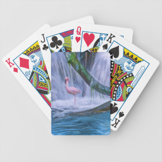 Tropical Waterfall, Pink Flamingo, Playing Cards