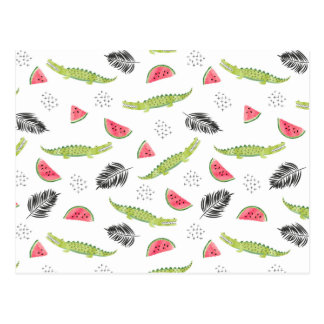 Tropical Watermelon & Crocodile Pattern Postcard