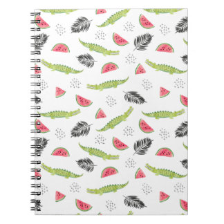 Tropical Watermelon & Crocodile Pattern Spiral Notebook