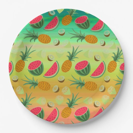 Tropical Watermelon Pineapple Fruit Paper Plate