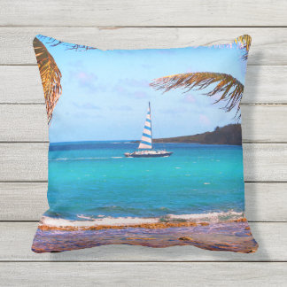 Tropical Waters and Sailboat Outdoor Cushion