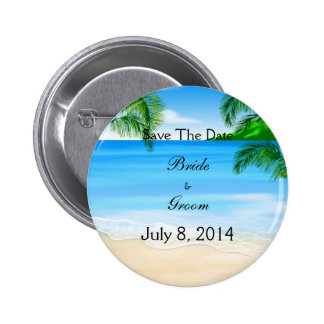 Tropical Waters Beach Wedding Save The Date 6 Cm Round Badge