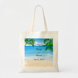 Tropical Waters Beach Wedding Save The Date Budget Tote Bag