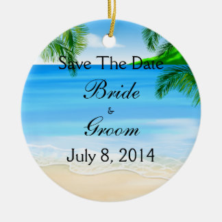 Tropical Waters Beach Wedding Save The Date Christmas Ornament