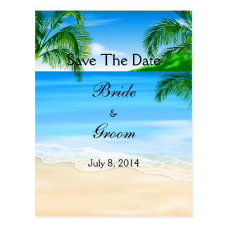 Tropical Waters Beach Wedding Save The Date Postcard