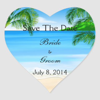 Tropical Waters Beach Wedding Save The Date Heart Sticker