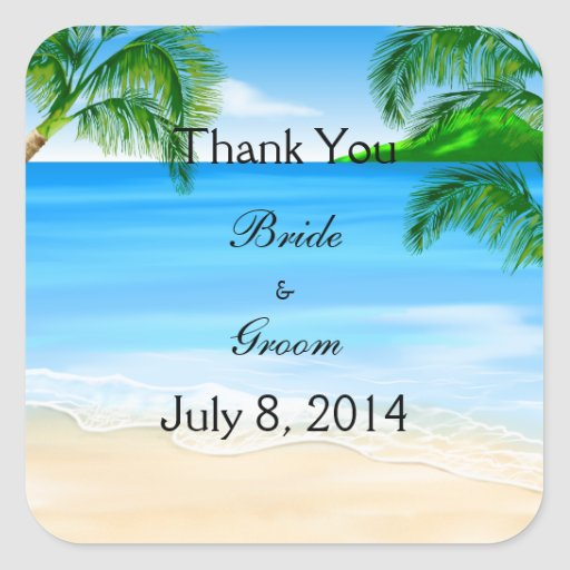 Tropical Waters Beach Wedding Thank You Square Sticker