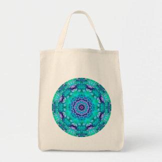 Tropical Waters Blue and Purple Mandala Grocery Tote Bag