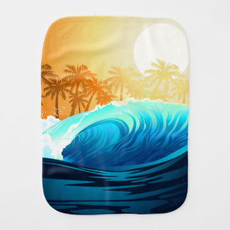 Tropical wave at sunrise burp cloths
