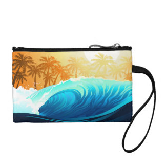 Tropical wave at sunrise coin wallet