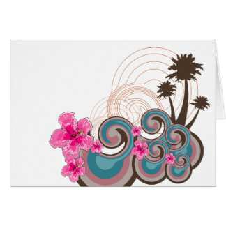 Tropical Waves Hot Pink Hibiscus Beach Palm Trees Card